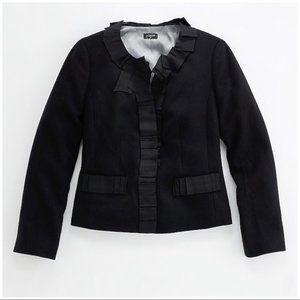 J Crew 6 Wool Jacket Black Grosgrain Triomphe